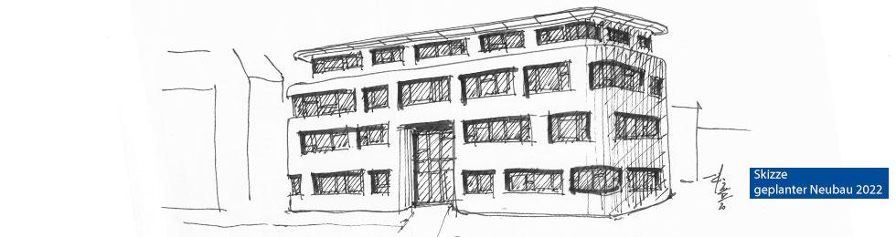 zukünftiges MZEB - Skizze Fassade 3 Etagen
